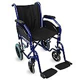 Mobiclinic, Modell Maestranza, Rollstuhl, Faltrollstuhl, Leichter Rollstuhl, Transit-Rollstuhl, Abnehmbare Armlehnen und Fußstützen, Schwarz, Sitzbreite 45cm
