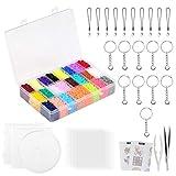 LIHAO 24000 Bügelperlen Set mit Platte Zubehör Muster Steckperlen in Organizerbox (2,6 mm, 24 Farben)