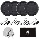 CamKix 4 Stück Snap-on Objektivdeckel oder Zentrum Pinch Objektivdeckel für Nikon, Canon, Sony und andere DSLR-Kameras – Inklusive EIN Mikrofaser Reinigungstuch… (77 mm)
