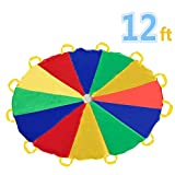 Sonyabecca 3,5m Schwungtuch für Kinder und Familie - Bunt Fallschirm Parachutes Spielzeug (6-12 Kinder)