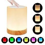 LED Nachttischlampe, Zorara Touch Dimmbar Nachtlicht LED Nachtlampe Stimmungslicht Tischlampe mit RGB 7 Farbwechsel & Dimmbares USB Aufladbar Tragbare Smart für Baby Kinder SchlafZimmer