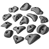ALPIDEX 15 M/L Klettergriffe im Set Verschiedene Formen, kleine Henkel, Tritte, in vielen Farben, Farbe:Grey Stone