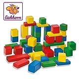 Eichhorn 50 bunte Holzbausteine, FSC 100% zertifiziertes Buchenholz, Holzbausteine hergestellt in Deutschland, Motorikspielzeug geeignet für Kinder ab 1 Jahr