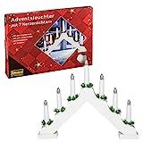 Idena 8582067 - Adventsleuchter aus weiß lackiertem Holz mit 7 Kerzenlichtern, inklusive Ersatzlampe, Anschlusskabel mit Schalter, ca. 40 x 30 cm
