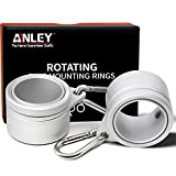 Anley 1,25'Aluminium Fahnenmast-Montageringe Set - Anti Wrap 360 ° drehbarer Ring mit Karabinern - Ideal für 1 bis 1-1/4 Zoll Durchmesser Fahnenstange & Fahne mit 2 Ösen (Silber, 2er Pack)