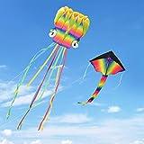 Kupton Drachen Flugdrachen 2Pack, 5M Großer Octopus Drachen Flugdrachen und Regenbogen Delta Drachen mit Schönen Schwänzen für Kinder und Erwachsene, Leicht zu Fliegen für AktivitäTen Freien