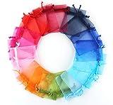 ABSOFINE Organzasäckchen 100x Organzabeutel 10farbig Schmuckbeutel Organza Säckchen Hochzeit Geschenk Mitgebsel mehrfarig Heiraten Fest Party 7 X 9cm