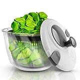 Lacari  Salatschleuder mit großem [5L] Fassungsvermögen – Optimaler Salattrockner mit Ablaufsieb - Einfaches Bedienen durch Drehen der Kurbel