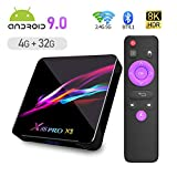 X88 PRO X3 Android 9.0 TV Box,4GB RAM 32GB ROM S905X3 Quad-core 64bit Cortex-A55 Support 2.4/5.0GHz dual-Band WiFi BT4.1 3D 8K Ultra HD H.265 10/100/1000M Ethernet HDMI2.1 Smart TV Box
