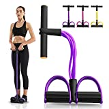 gracosy Upgrade 4 Tubes Pedal Resistance Band Elastisches Sit-up Pull Rope Bodybuilding Expander Multifunktions-Widerstandstraining Home Fitness Bauch Trainer Arm Bein Abnehmen Training Yoga Lila