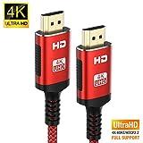 4K@60HZ HDMI Kabel 3M Rot,[Aktualisierte Version]Snowkids Rutschfeste HDMI 2.0 Kabel mit 18Gbit/s Unterstützung für 3D UHD 2160P Ethernet HDCP 2.2 ARC kompatibler HDTV,LG,Fire TV,X-box,PS4,PS3,PC