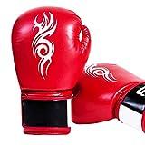 LLYY® Boxhandschuhe Muay Thai, Fight Gloves Boxsack/Training Sparring Kickboxen Sandsack Hide Leder Boxing für Männer Frauen Coachinghandschuhe(12oz),Red
