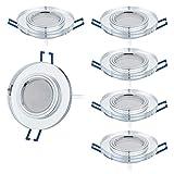 6er Set LED Einbaustrahler Glas super flach 5W 230V 430lm Spot Einbauleuchte Wandleuchte, Dimmbar, 120°Abstrahlwinkel