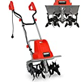 Elektro Bodenhacke (NEU) für effektive Bodenbearbeitung – 1500 Watt – 24 Messer – elektrische Gartenfräse – Gartenhacke – Kultivator – zum umgraben und lockern vom Boden für perfekte Pflanzen (Rot)