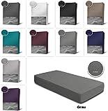 one-home Frottee Spannbettlaken Spannbetttuch 90x200 140x200 180x200 Bettlaken Baumwolle, Maße:140x200 cm - 160x200 cm, Farbe:Grau