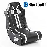 WOHNLING® Soundchair Ninja in Schwarz Weiß mit Bluetooth   Musiksessel mit eingebauten Lautsprechern   Multimediasessel für Gamer   2.1 Soundsystem - Subwoofer   Music Gaming Sessel Rocker Chair