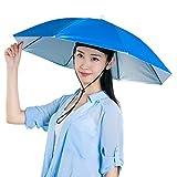 Xpccj Regenschirmhut Kappe Angelkappe Strandschirm Regenschirm Regenschirm Hut Faltbare Kopfbedeckung Kopfbedeckung für Sommer Zeit Outdoor, nicht null, blau, 80 cm