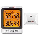 ThermoPro TP62 digitales Funk Thermo-Hygrometer Digitale Thermometer Hygrometer für Innen Außen mit Außensensor Temperatur und Luftfeuchtigkeitsmesser für Raumklimakontrolle, Hintergrundbeleuchtung