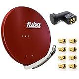 Fuba Digital Sat-Anlage DAA 850 R Satellitenschüssel Rot 85x85cm + PremiumX Quad LNB für 4 Teilnehmer + 8 F-Stecker - Komplett Set HDTV Full HD 4K tauglich + 8X F-Stecker