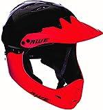 AWE® BMX-Integralhelm, Schwarz/Rot, Größe M, 54–58 cm, für Junior/Erwachsene, 5 Jahre Ersatz