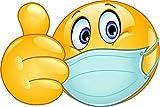 - 10x15 cm - Premium Aufkleber Smiley Emoji Daumen Hoch Maskenpflicht Sticker Autoaufkleber Auto Motorrad E28