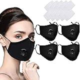 4 Packs Mundschutz Maske Schutzmaske Multifunktionstuch Mund und Nasenschutz Waschbar Staubschutzmaske Wiederverwendbar Atmungsaktiv Mundschutz Winddicht Unisex Halstuch - Mit 12 Aktivkohlefiltern
