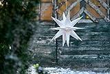 Novaliv Weihnachtsstern 3D LED Weiss 18 Zack 25 cm Kunststoffstern Dekostern Fensterdeko Weihnachtsdeko Innen Außen Stern beleuchtet