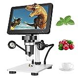 Kacsoo LCD Digital Mikroskop, Digital Mikroskop 1200X Vergrößerung Zoom 7 '' HD Drehbarer Bildschirm 12MP Pixel 1080FHD mit 8 LED, LCD Mikroskop für Wissenschaft für Leiterplatten Reparatur