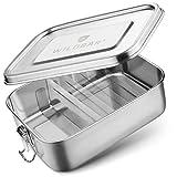 WILDBÄR® - Edelstahl Brotdose mit Fächern - Kinder Lunchbox auslaufsicher [800ml] - Nachhaltige Bento Box als praktische Metall Brotbox mit Trennwand - BPA- und plastikfreie Brotzeitbox