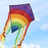 Homegoo Drachen Flugdrachen Einleiner, Easy Flyer Regenbogendrachen Bastelset für Erwachsene Leichtes Fliegen im Freien bei starkem oder leichtem Wind, 120x60cm