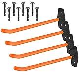 WELLGRO 4X Wandreifenhalter - Reifen Wandhalterung - inkl. Metallschrauben und Dübel - Haltebügel mit Gummiummantelung - Felgenhalter - Wandhalter - ca. 27 x 9 x 5 cm - Farbe wählbar, Farbe:Orange