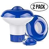 RenFox Dosierschwimmer Chlor Dosierer, Einstellbare Belüftungsöffnungen & Verschlusskappe, Pool chemischen Spender für Innen- und Außenpools, Badewanne (2 PCS)
