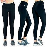 Formbelt Laufhose Damen mit Tasche lang - Leggins Stretch-Hose Lauf-Tights für Smartphone iPhone Handy Schlüssel Yoga (A-schwarz, XXL)