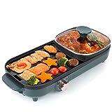 Uten Hot Pot Barbecue 2 in1 Multifunktion Doppelte Trennung Korean Barbecue Hot Pot, Elektrischer Rauchfreier Grill im Innenbereich für einfache Reinigung für 2-12 Personen