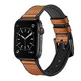 O RLY Lederarmband Kompatibel für Apple Watch Band 44mm 42mm fur Series 5 4 3 2 1 Leder Weich und sanft Armband (Silicon+Leather Brown)