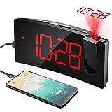 Mpow Projektionswecker, Wecker Digital mit USB-Anschluss, Große 5' LED Bildschirm, 4 einstellbare Helligkeiten, Ultraklare Rote Ziffern, Einfach zu bedienen, Snooze, Randlos Kurve (Inkl.Adapter)