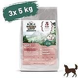 Wildes Land   Halbfeuchtes Trockenfutter für Hunde   Nr. 5 Rind   15 kg   mit Reis und Wildkräutern   Glutenfrei   Extra viel Fleisch   Soft Alle Hunderassen   Beste Akzeptanz und Verträglichkeit