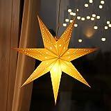 SALCAR LED-Papierstern zum Aufhängen, Laternen-Dekoration, Durchmesser 55cm, Papierstern für zu Hause, Dekoration, Papierstern Stern mit E14 LED-Lampe, warmweiß, für Weihnachten, Hochzeit, Party.