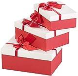 Your Design Geschenkbox: 3er-Set edle Geschenk-Boxen mit roter Schleife, 3 Verschiedene Größen (Schachteln)