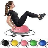 Hop-Sport Balance Ball HS-L058B Balancetrainer Gymnastikball mit Expander & Pumpe für Fitness, Stabilitäts-Training Ø 63,5 cm (Hellrosa)