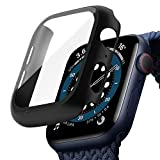 TOPACE Schwarz Hard Apple Watch Series 6 / SE/Serie 5 / Series 4 Hülle Mit Panzerglas Displayschutz 44mm, 360°Rundum Schutzhülle, Ultradünne PC Hardcase für iWatch 44mm