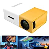JIEHED Mini Projector - Portable Theater Home Office HD 1080P Yellow LED Home Office HD Mini Projector Multimedia for Children Present, Video TV Movie, Party Game, Outdoor Entertainment New