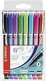 Fineliner mit gefederter Spitze - STABILO SENSOR F - fein - 8er Pack - schwarz, blau, lila, grün, hellgrün, türkis, pink, rot