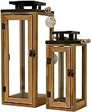 Dekovita 2er-Set Gartenlaterne 30cm/42cm - Holz-Laternen inkl. Kordel Henkel - Windlicht Deko-Laterne aus Naturholz