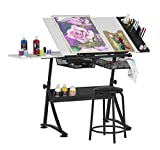 47' W Fusion Craft Center with 24' Supply Tray, 60 Degree Angle Adjustable Top and Height Adjustable from 27.75' – 35.5' When Flat, Stool and Slide-Out Shelf Included, Charcoal/White