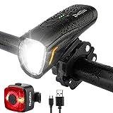 Deilin Upgraded LED Fahrradlicht Set, bis zu 70 Lux Fahrradlampe, StVZO Zugelassen USB Aufladbar Fahrradbeleuchtung, IPX5 Wasserdicht Fahrradlicht Vorne Frontlicht& Rücklicht Set