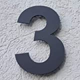 Hausnummer Acryl Anthrazit Grau Matt 4mm RAL: 7016 - Türnummer - Post Nummer - Plexiglas