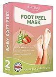 DERMATOLOGISCH ZERTIFIZIERTE EXFOLIATING Fußpeeling-Maske für weiche Babyfüße von Plantifique-10-fach wirksamer bei Schwielen, abgestorbener und trockener Haut-TIEF rissige Fersen Reparatur- 2 Paare