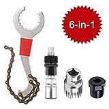 6-in-1 Fahrrad Kassette Removal Tool mit Kurbelabzieher und Innenlager-Entferner 5-11 Fach Kompatibel Kettenpeitsche Fahrrad Reparatur Werkzeug Set Kurbel Kette Achse Demontage Werkzeug (Rot)