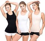 UnsichtBra 3er Pack Longshirt Damen Unterhemden | Basic Wohlfühl Mikrofaser Damen Top ohne Bügel | Unterhemd Damen Weiss Schwarz Beige (Schwarz,Weiss,Beige, M-L)